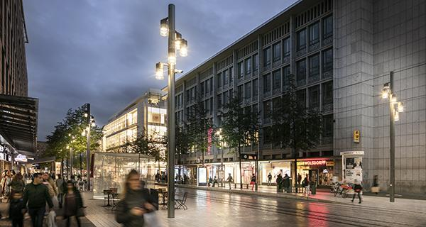 Schréder developed a customised urban lighting solution to increase footfall in the city of Mannheim