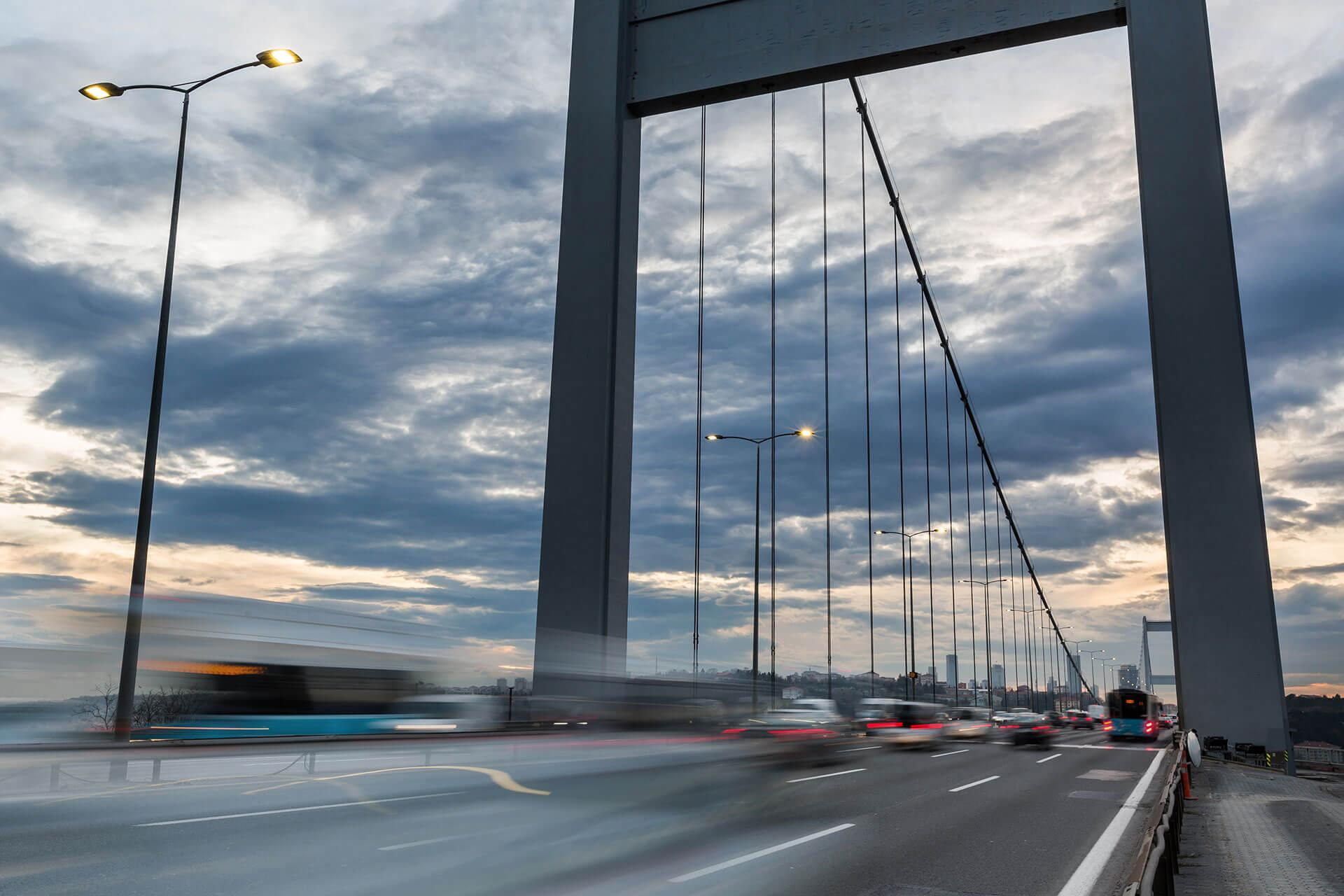 Energy efficient Teceo luminaires provide a high light output, improving visibility on Fatih Sultan Mehmet Bridge